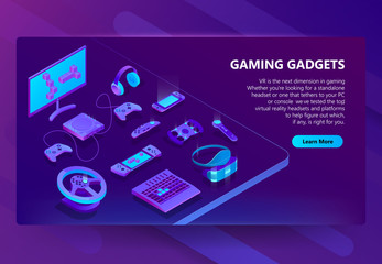 Gaming gadgets vector isometric concept background. Modern devices for video games, headset and glasses for virtual reality, equipment for gamers, joysticks, keypad. Banner for web site with button