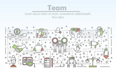 Vector thin line art team poster banner template