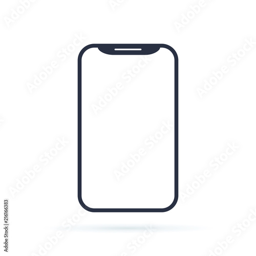 Cell Phone Icon >> Mobile Phone Smartphone Device Gadget In Line Style On The White