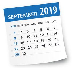 September 2019 Calendar Leaf - Vector Illustration