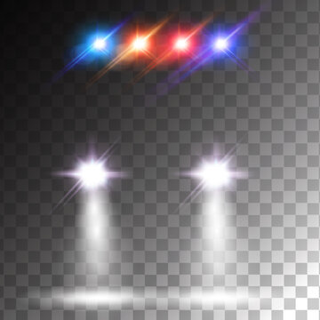 Car flares with colorful siren effect. Realistic car headlights front view isolated on transparent background. Police car lights effect.