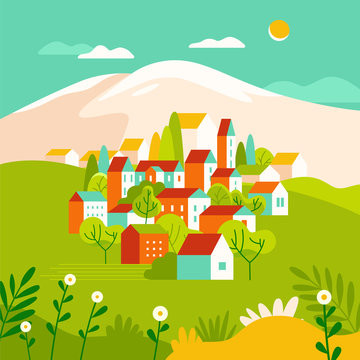 Vector illustration in simple minimal geometric flat style - landscape with buildings, hills and trees