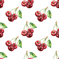Seamless pattern. Hand drawn cherry. Watercolor illustration on white background.