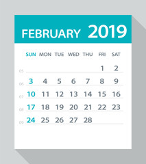 February 2019 Calendar Leaf - Vector Illustration