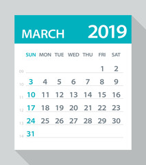 March 2019 Calendar Leaf - Vector Illustration