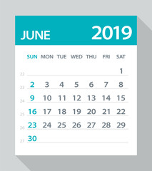 June 2019 Calendar Leaf - Vector Illustration