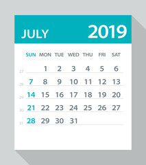 July 2019 Calendar Leaf - Vector Illustration