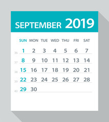 September 2019 Calendar Leaf - Vector Illustration