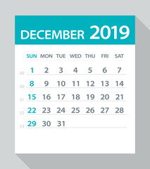 December 2019 Calendar Leaf - Vector Illustration