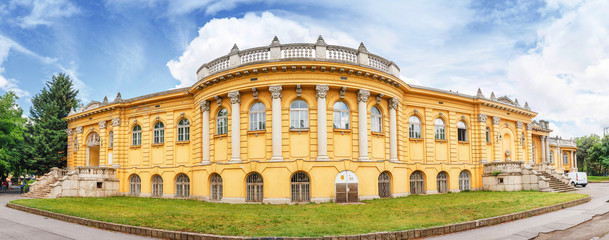 Architecture of the Szechenyi palace Thermal Bath in Budapest. Main tourist destination