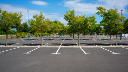 Empty Parking lot with trees on sunny summer day