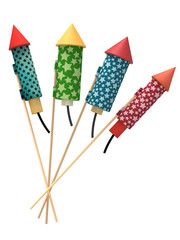 Vintage fireworks rockets, isolated on white background, 3d rendering.