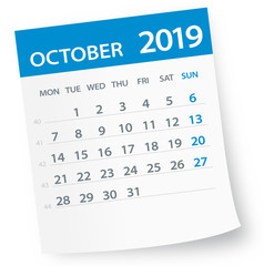 October 2019 Calendar Leaf - Vector Illustration