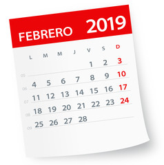 February 2019 Calendar Leaf - Vector Illustration. Spanish version