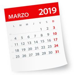 March 2019 Calendar Leaf - Vector Illustration. Spanish version