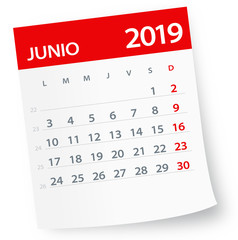 June 2019 Calendar Leaf - Vector Illustration. Spanish version
