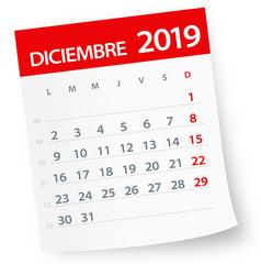 December 2019 Calendar Leaf - Vector Illustration. Spanish version