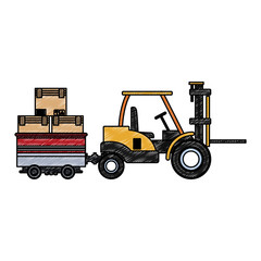 Forklift carrying cart with boxes vector illustration graphic design