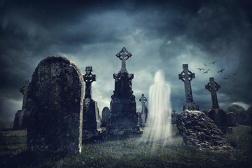 Spooky old graveyard and a ghost Wall mural