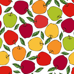 Green, Red, Yellow Apple Seamless Endless Pattern. Red Apple Fruit. Home Brew. Autumn or Fall Vegetable Harvest Collection. Realistic Hand Drawn High Quality Vector Illustration. Doodle Style.