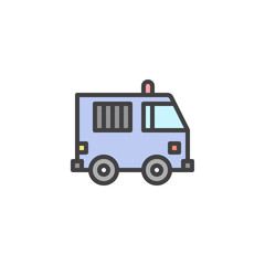 Prisoner truck filled outline icon, line vector sign, linear colorful pictogram isolated on white. Police Van symbol, logo illustration. Pixel perfect vector graphics