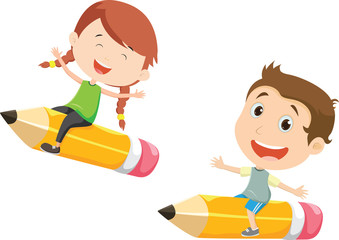 illustration of Boy and girl flying on a pencil