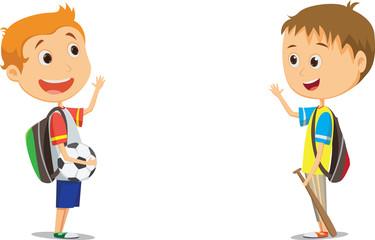 happy elementary school children waving after school