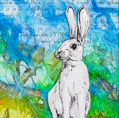 White rabbit drawing on colourful blue green background. Original artwork mixed media collage.