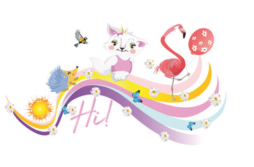 Vector  funny animals in cartoon style on the rainbow. Hedgehog, cat, flamingo with birthday balls.
