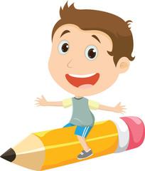 happy boy flying on a pencil