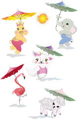 Vector set with cute funny animals in cartoon style. Giraffe, elephant, hippo, lamb, cat, flamingo etc with umbrellas.