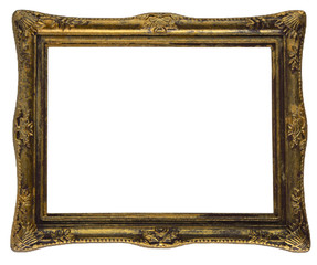 Isolated golden vintage frame on white background