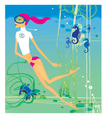 Zodiac sports lady. Cancer. A girl in a scuba mask engaged in diving among sea horses, algae and crabs.