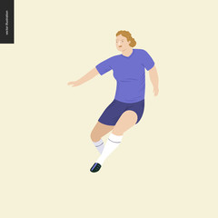 Womens European football, soccer player - flat vector illustration of a running young woman wearing european football player equipment