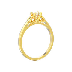 3D illustration isolated yellow gold solitaire wedding diamond ring with heart prongs on a white background