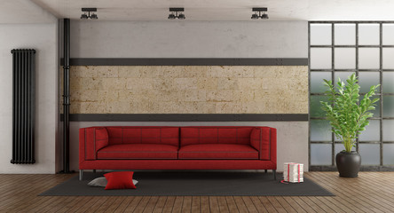Red sofa in old room