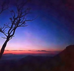 Hand drawing watercolor art on canvas. Artistic big print. Original modern painting. Acrylic dry brush background.  Charming view of the riddles of nature. Beautiful landscape. Excellent sunset.