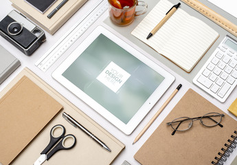 Grid Aligned Desk with Tablet Mockup