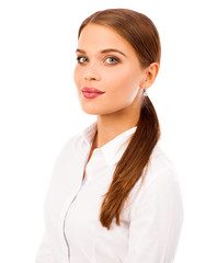 Business portrait. Close up portrait of a young blonde woman in shirt