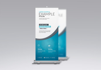 Business Roll-Up Banner Layout with Blue Accents