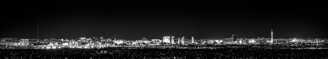 Fotobehang Las Vegas A Monochrome Vegas, black and white cityscape at night with city lights