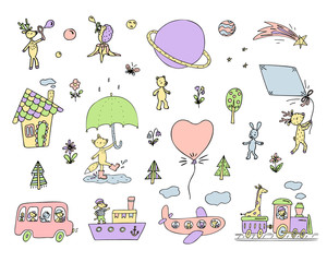 set of cute animals, transport, flowers, trees, small house, planets.