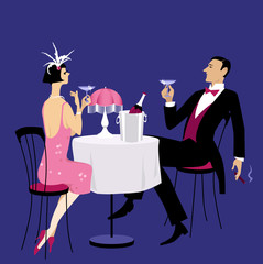 Fototapete - Couple dressed in 1920th period clothes having champagne in a night club, EPS 8 vector illustration