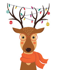 Cute cartoon deer with Christmas toys, garlands on the horns and scarf. Merry Christmas. Happy new year. Vector illustration.