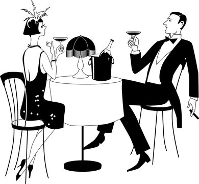 Couple dressed in 1920th period clothes having champagne in a night club, EPS 8 black vector line illustration, no white objects