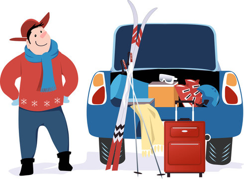 Man standing at a car with open trunk packed for a ski trip, EPS 8 vector illustration