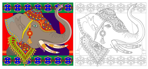 Colorful and black and white pattern for coloring. Fantasy drawing of elephant head with Indian ornament. Worksheet for children and adults. Vector image.