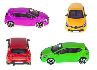 set of toy cars isolated