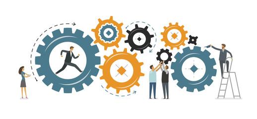 Business development, teamwork concept. Vector illustration