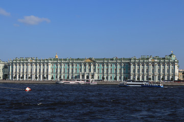 The facade of the Winter Palace. Embankment of the Neva River. Hermitage Museum. St. Petersburg.